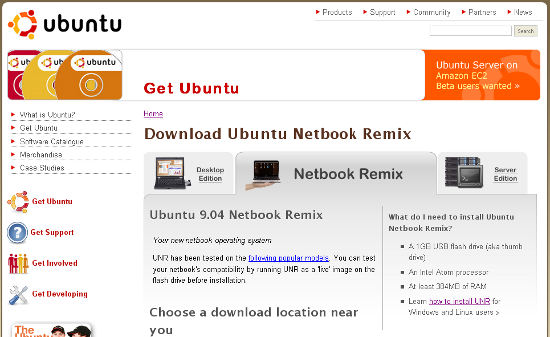 Ubuntu 9.04 Netbook Remix